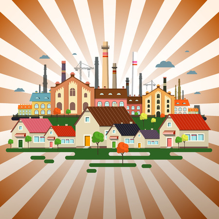 Abstract Town on Retro Background. Vector Factory in City on Vintage Backdrop.