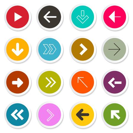 Arrow. Vector Set. Arrows in Colorful Paper Circles.