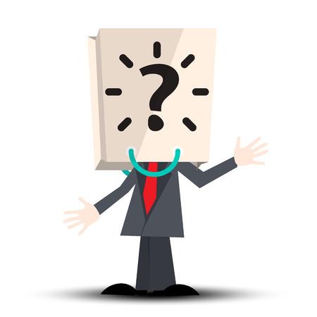 Hombre desconocido con bolsa de papel Signo de pregunta sobre cabeza Ilustración de vector