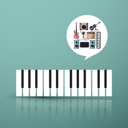 Music Symbol. Piano Keyboard with Instruments in Bubble