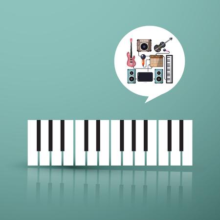 Symbole de la musique. Clavier de piano avec des instruments dans la bulle