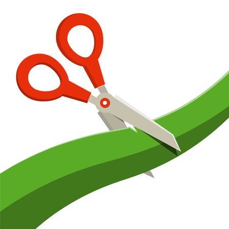 Red Scissors with Green Ribbon Isolated on White Background. Vector. Illustration
