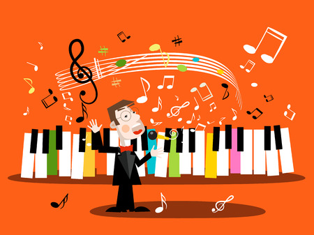 Man Singing Song with Piano Keyboard and Notes Vector