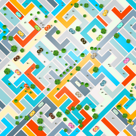 Abstract City Top View Vector Illustration.