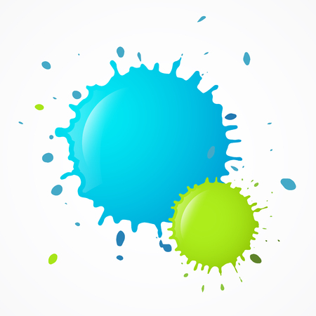 Vector blue and green blot Splashes