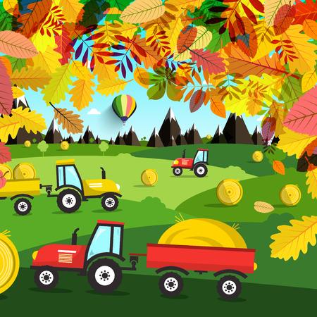 Autumn Landscape, Tractors on Field Vector. Illustration