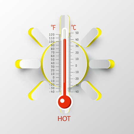 Thermometer with Paper Cut Sun, Vector Hot Weather Symbol.