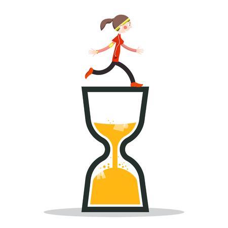 Woman Running on Sand Clock Vector Icon.