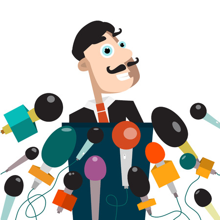 Man with many Microphones press Conference concept vector