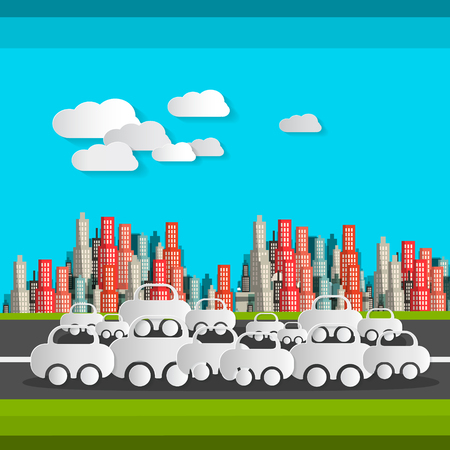 Paper Cut Cars and Clouds Vector Flat Design Illustration Illustration
