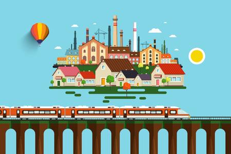Moderner Zug auf der hohen Brücke und abstrakte Stadt Vektor flache Design Illustration Standard-Bild - 90524841