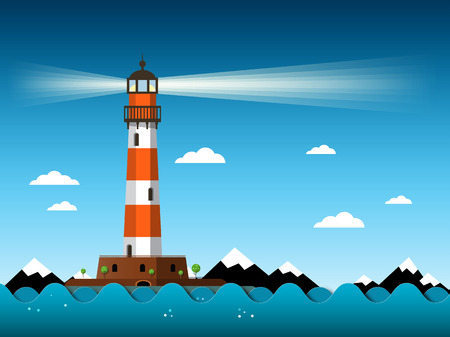 Lighthouse with Waves on Sea Vector Иллюстрация