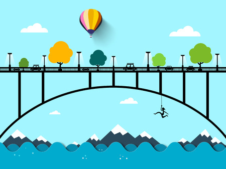 Landscape with Bridge Vector Flat Design Illustration.