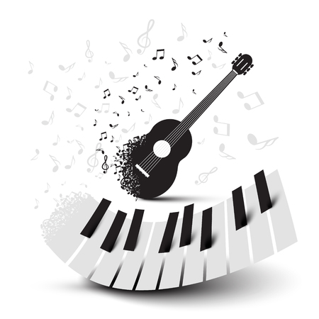 Piano Keys and Guitar with Notes Ilustrace