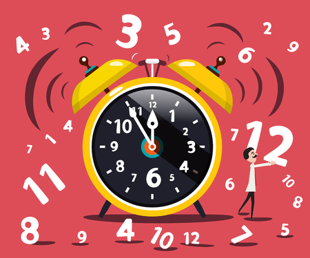 Alarm Clock with Numbers and Man. Vector Flat Design Illustration.