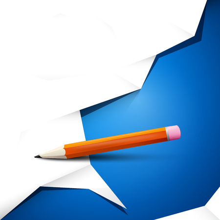 Empty white crumpled paper on blue background with pencil. Vector backdrop design.