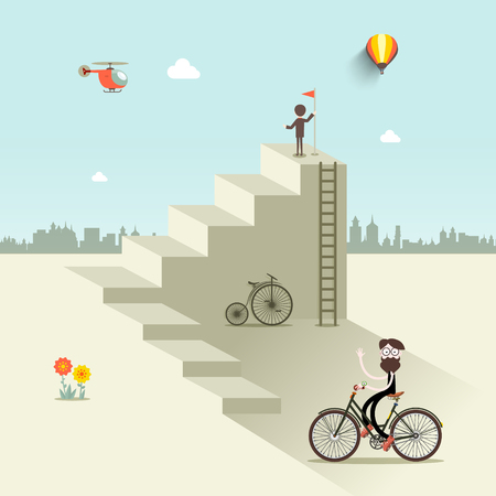 Man up the stairs with flag, one with bicycle and helicopter on sky. Abstract vector flat design city scene. Illustration