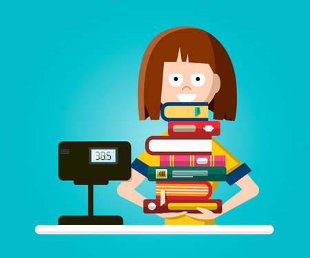 Bookstore or library vector flat design illustration with woman with pile of books.