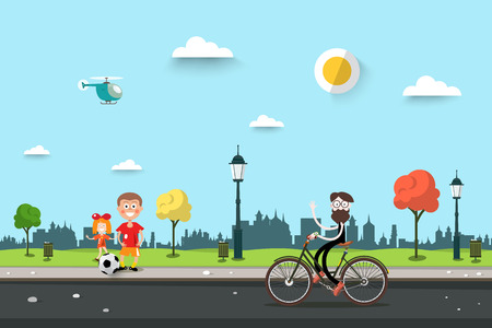 Man on bicycle with children on sidewalk flat design city park life scene sunny day urban landscape.