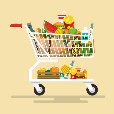 Shopping Cart with Foodstuff. Vector Flat Design Icon.