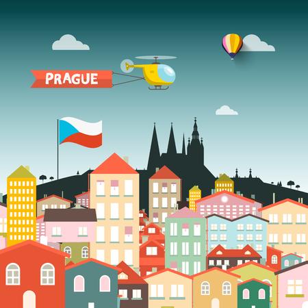 Prague Castle with Buildings. Vector Flat Design Illustration. Vettoriali