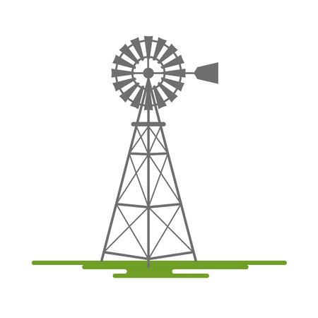 Windmill Flat Design Vector Symbol Isolated on White Background Illustration