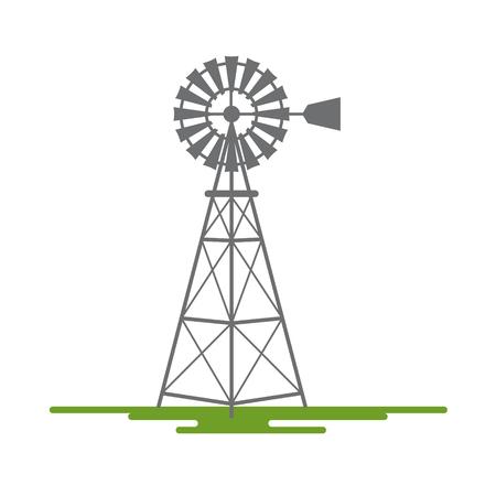 Wiatrak Płaska konstrukcja wektor Symbol na białym tle