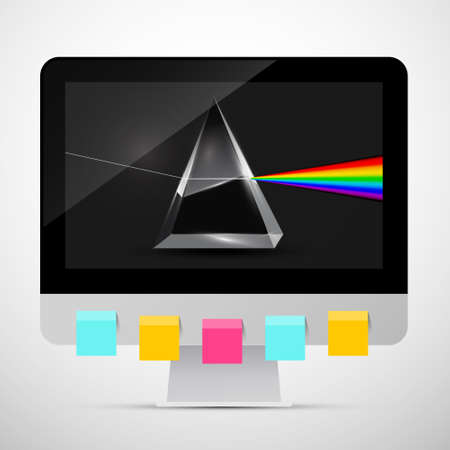 Personal Computer with Prism on Screen and Colorful Paper Sheets on Monitor. Vector Creativity Symbol.