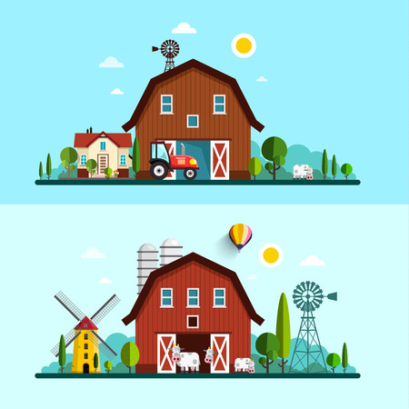 Farm with Barn, Windmill and Cows. Vector Flat Design Rural Scene.