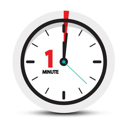 One Minute Clock Icon  vector illustration isolated on white background.