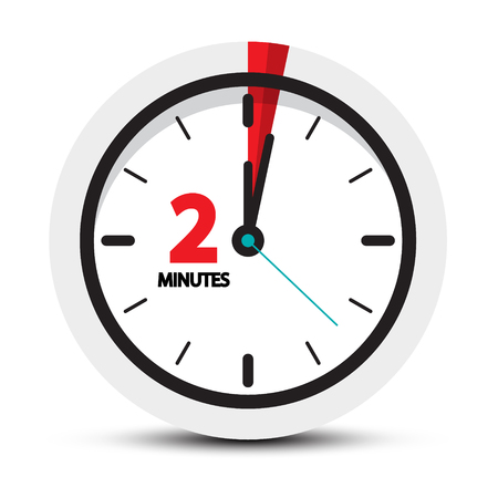 Two Minutes Clock Symbol.  vector illustration isolated on white background.