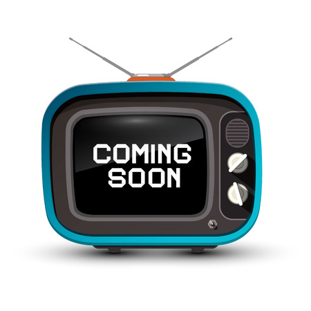 Retro TV with Coming Soon Title on Screen. Vector illustration.