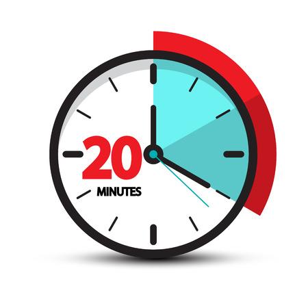 Twenty Minutes Clock Face Icon. Vector Symbol Isolated on White Background Illustration