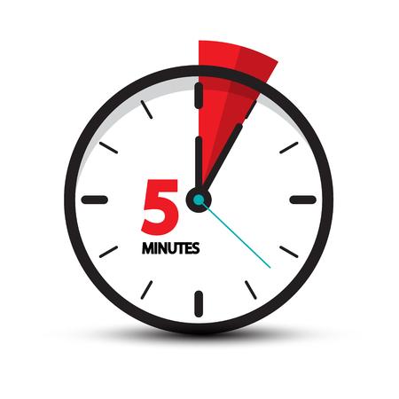 Pięć minut zegar ikona na białym tle. 5 minut wektor symbol czasu. Ilustracje wektorowe