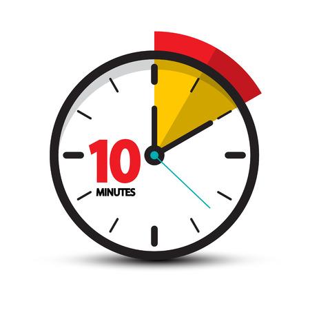 10 minutos cara del reloj. Vector icono de diez minutos.