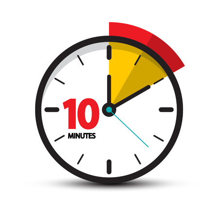 10 Minutes Clock Face. Vector Ten Minute Icon. Vettoriali
