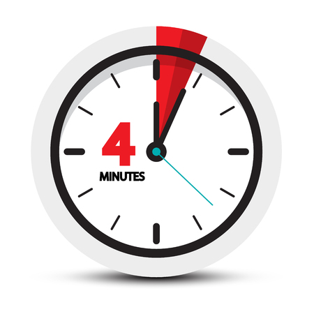 4 Minutes Clock Icon. Vector Four Minute Symbol.
