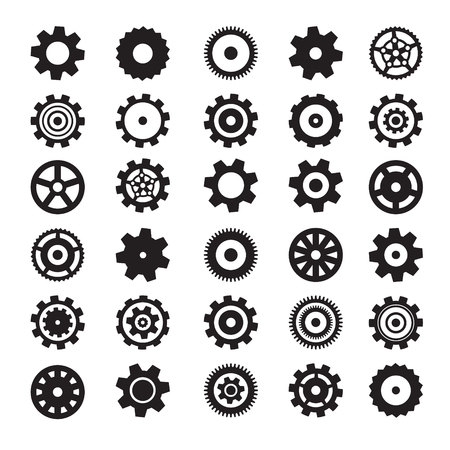Cogs Symbols. Flat Design Vector Gears Set Isolated on White Background. Ilustracja