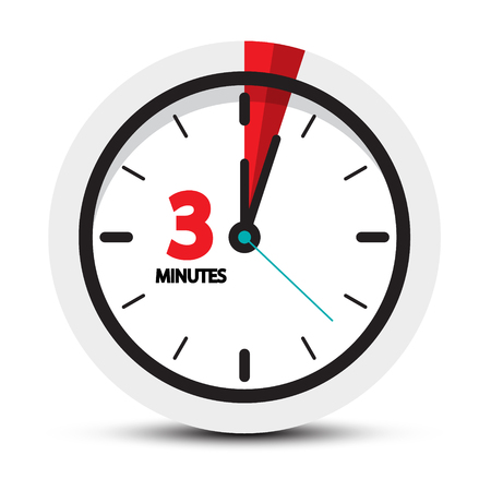 3 Minutes Icon. Clock Face with Three Minute Symbol. Vector illustration.