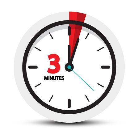 Ikona 3 minuty. Tarcza zegara z symbolem trzech minut. Ilustracji wektorowych. Ilustracje wektorowe