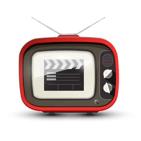 Vintage TV with Film Clap on Screen. Vector Retro Television Icon. Ilustração