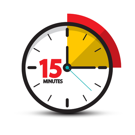 15 Minutes Clock Icon. Vector Fifteen Minute Symbol Isolated on White Background. Vettoriali