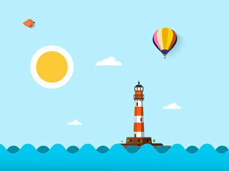 Sunny Day on Sea. Vector Flat Design Ocean Landscape with Lighthouse, Sun, Bird and Hot Air Balloon on Blue Sky.