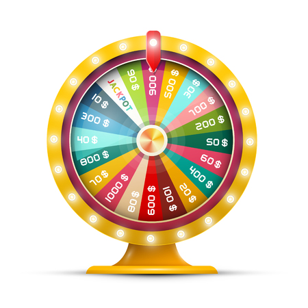 Spinning Money Wheel of Fortune with Jackpot Vector Illustration Isolated on White Background. Roulette Symbol. Vettoriali