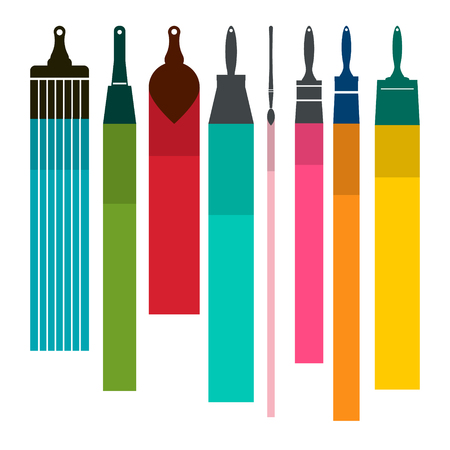 Brushes with Colorful Paint Smudges Vector illustration.