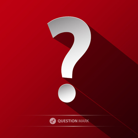 Question Mark Vector Symbol. Paper Cut Icon on Red Background. Stock Illustratie