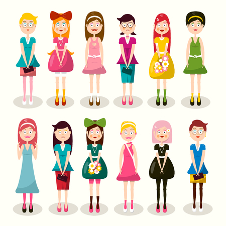 Set of Women Characters. Vector Flat Design Ladies Isolated on Light Background. Woman Icon. Girl Symbol.