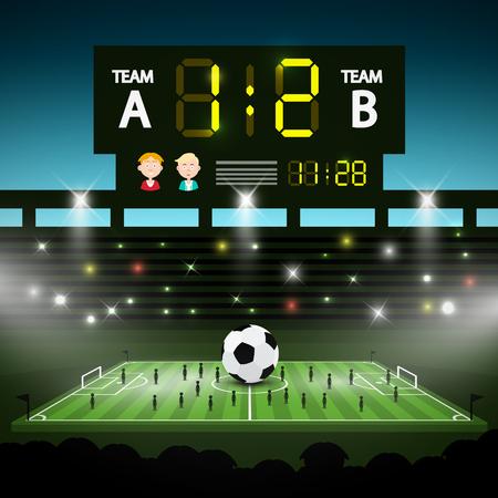 Terrain de jeu de football avec grand tableau de bord. Stade de football avec des joueurs Vector Illustration.