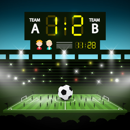 Football Playground with Big Scoreboard. Soccer Stadium with Players Vector Illustration.