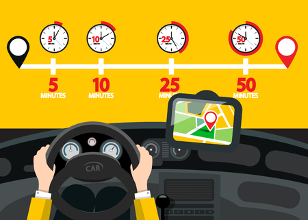 Car Navigation with Time Icons. Vector Road Map with Pins.